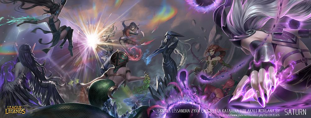 Syndra-Lissandra-Zyra-Cassiopeia-Katarina-Lux-Akali-Morgana-by-Saturn-HD-Wallpaper-Background-Fan-Art-Artwork-League-of-Legends-lol